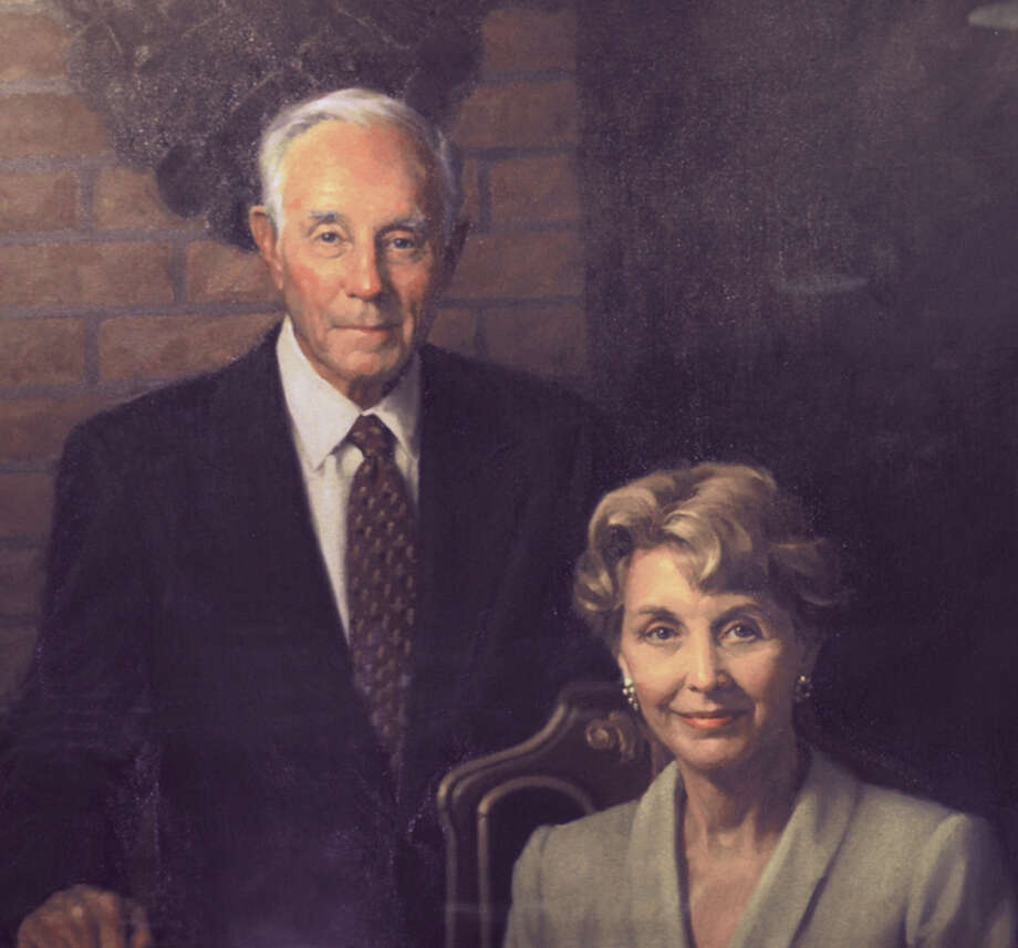 Sue and Radcliffe Killam are shown in a painting. The Killam family's donation of 300 acres for the new university campus changed the face of higher education in South Texas. Photo: Courtesy