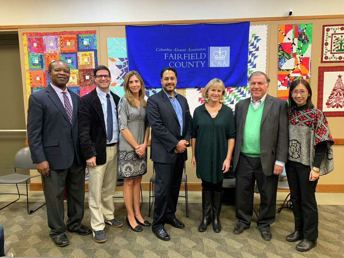 Startup founders take the stage at Cos Cob Library last week at a panel event sponsored by Columbia Alumni Association of Fairfield County.
