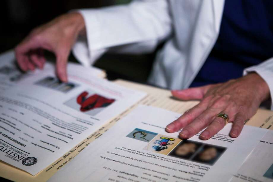 Dr. Sharon Derrick, forensic anthropologist at the Harris County Institute of Forensic Sciences opens up a folder with the information of unsolved cases. Tuesday, Sept. 8, 2015, in Houston. ( Marie D. De Jesus / Houston Chronicle ) Photo: Marie D. De Jesus, Staff / Houston Chronicle / © 2015 Houston Chronicle