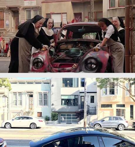 "A scene on Church Street from the 1992 movie ""Sister Act,"" with a photo of the same location in 2019. Photo: Peter Hartlaub And Buena Vista Pictures"