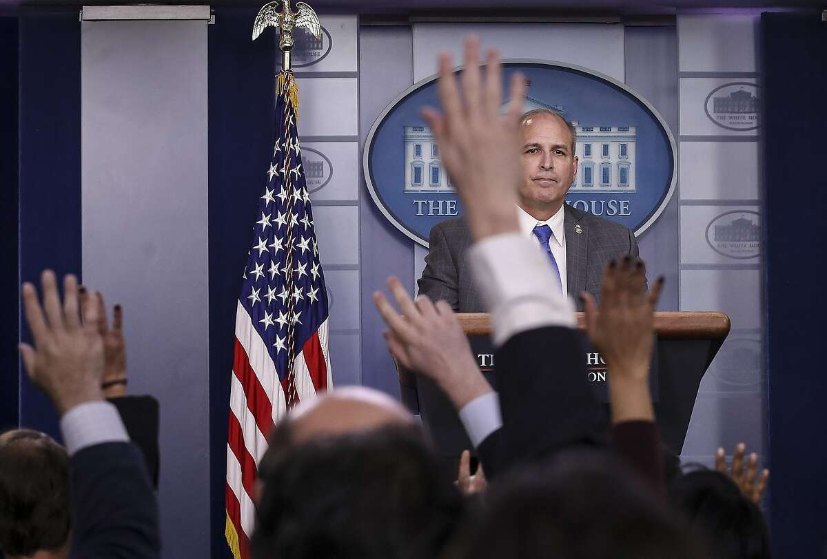 WASHINGTON, DC - NOVEMBER 14: Acting U.S. Customs And Border Protection Commissioner Mark Morgan takes questions during a press briefing at the White House on November 14, 2019 in Washington, DC. Morgan stated that apprehensions of undocumented migrants a