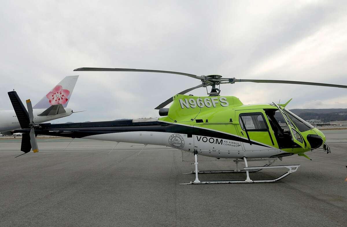 Voom, an Airbus company offering on demand helicopter service in the Bay Area show one of their helicopters at a private terminal on SFO property on Wednesday, Oct. 16, 2019, in San Francisco, Calif. Passengers can book flights up to one hour before departure.