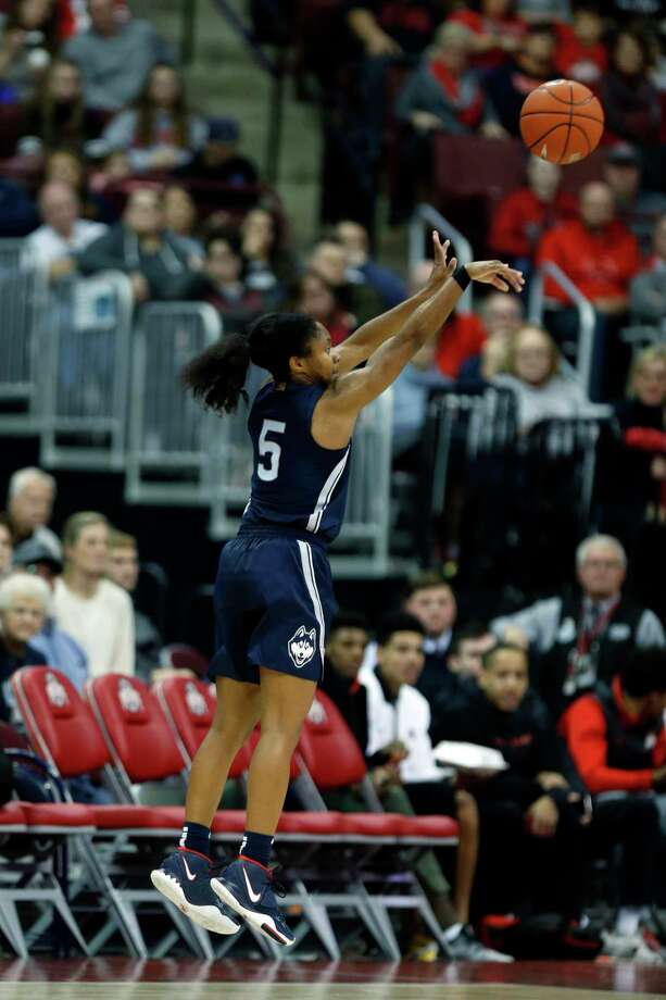 Connecticut guard Crystal Dangerfield goes up for a shot against Ohio State during an NCAA college basketball game in Columbus, Ohio, Sunday, Nov. 24, 2019. Connecticut won 73-62. (AP Photo/Paul Vernon) Photo: Paul Vernon / Associated Press / Copyright 2019 The Associated Press. All rights reserved