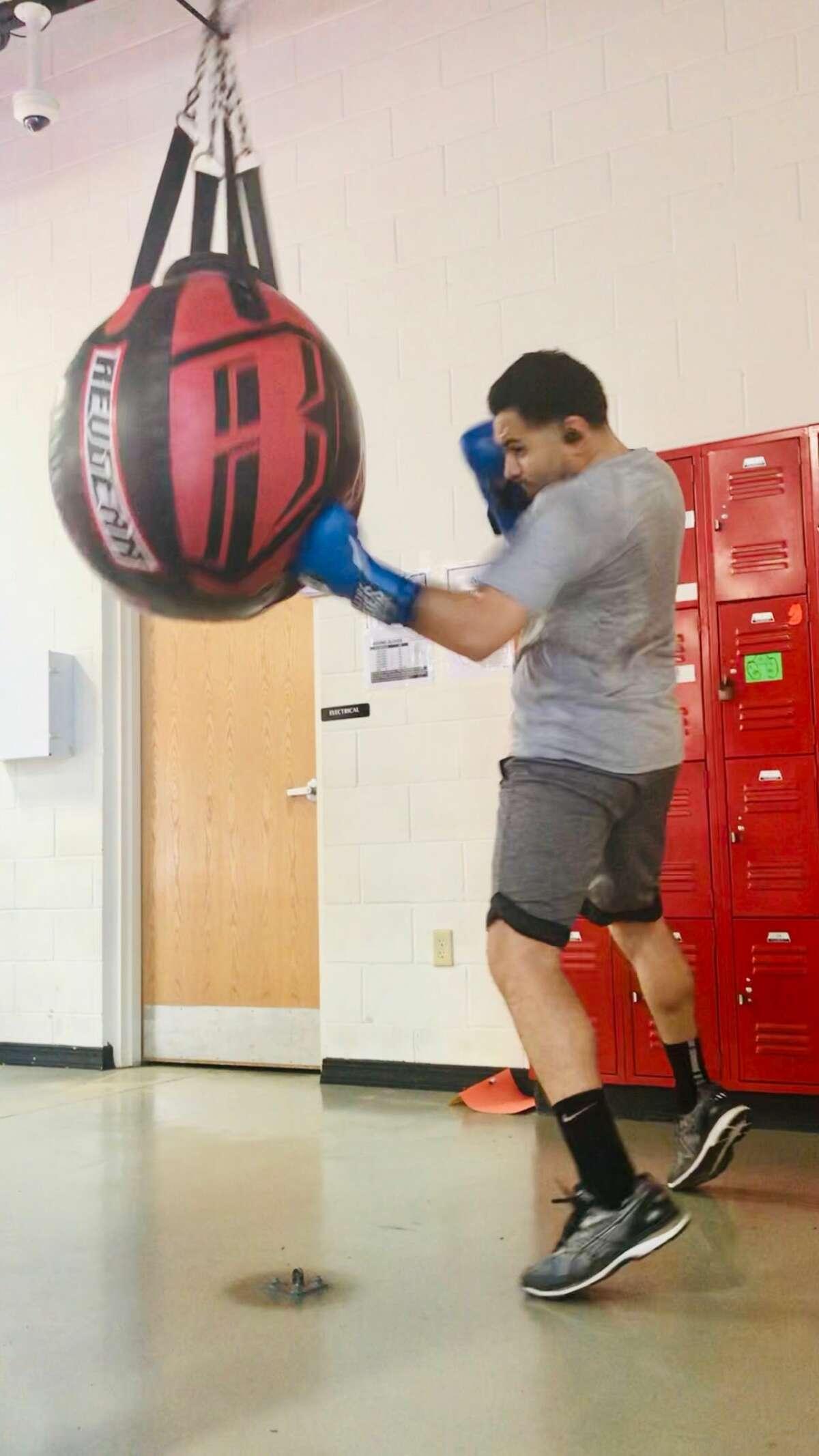 Chris Posada boxing at Marcos J. Aranda Recreation Center