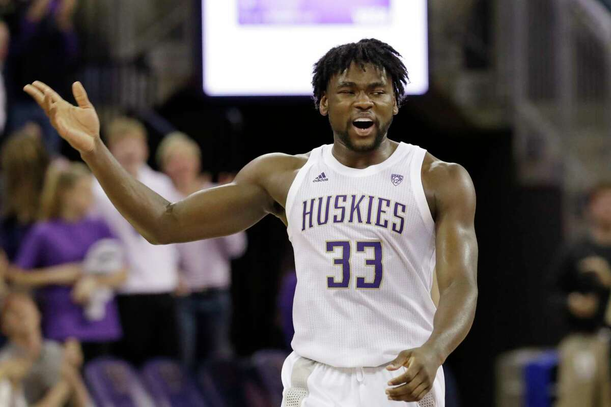 Washington's Isaiah Stewart reacts to scoring against Mount St. Mary's late in the second half of an NCAA college basketball game Tuesday, Nov. 12, 2019, in Seattle. Washington won 56-46.