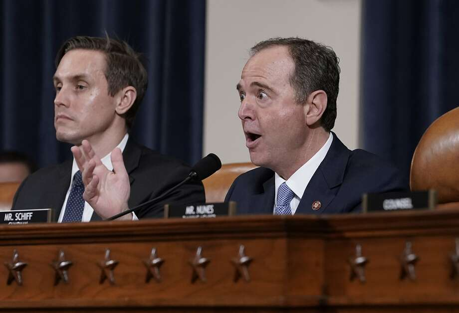 House Intelligence Committee Chairman Adam Schiff makes impassioned remarks last week at the conclusion of public impeachment hearings. Photo: J. Scott Applewhite / Associated Press