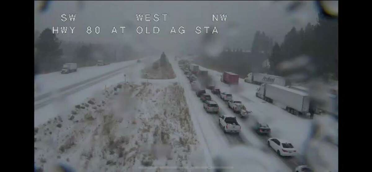 Road conditions on I-80 in the Sierra on Nov. 26, 2019. CHP closed the interstate in both directions due to multiple crashes and heavy snow.