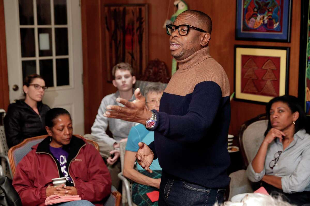 District D runoff candidate Brad Jordan speaks in a University Oak home to some 20 residents during their neighborhood association meeting Wednesday, Nov. 13, 2019 in Houston, TX.