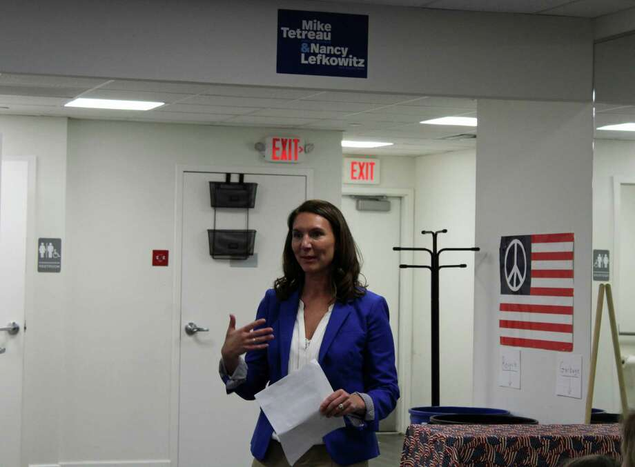 Jennifer Leeper accepted the Democratic nomination for the 132nd district state legislature seat Tuesday night. Photo: Rachel Scharf / Hearst Connecticut Media