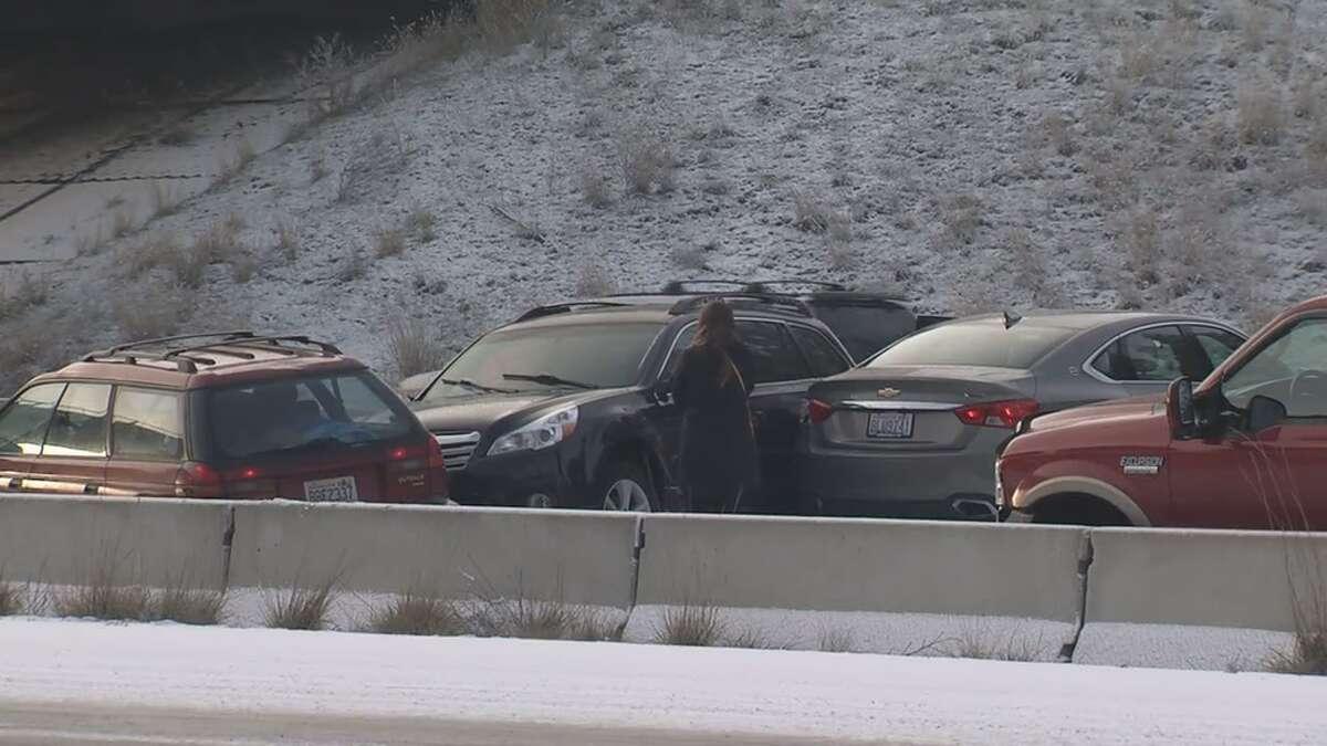 Cars crash on icy Interstate 90 near Spokane, Nov. 26, 2019. Hazardous driving is predicted across central and eastern Washington.