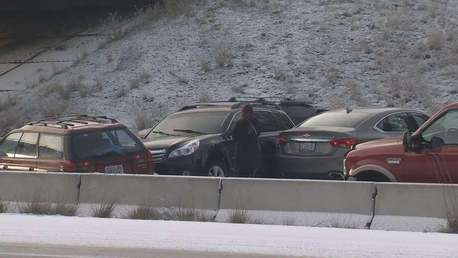 Cars crash on icy Interstate 90 near Spokane, Nov. 26, 2019. Photo: KOMO News Photo