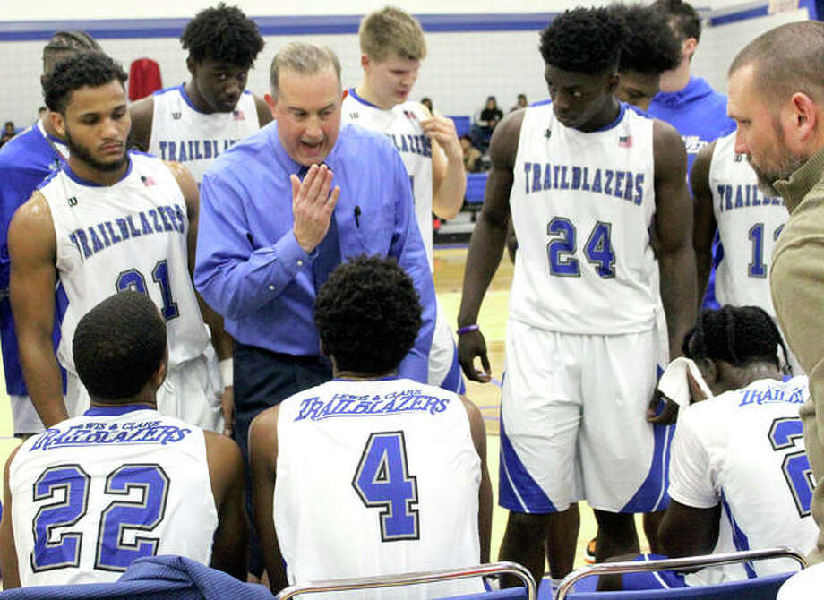 Lewis and Clark community College coach Doug Stotler gives his team instructions during a timeout in Tuesday' night's game against Wabash Valley. The game was the first for the Trailblazers in the newly refurbished George Terry River Bend Arena. LCCC lost 88-85. Photo: Pete Hayes | The Telegraph
