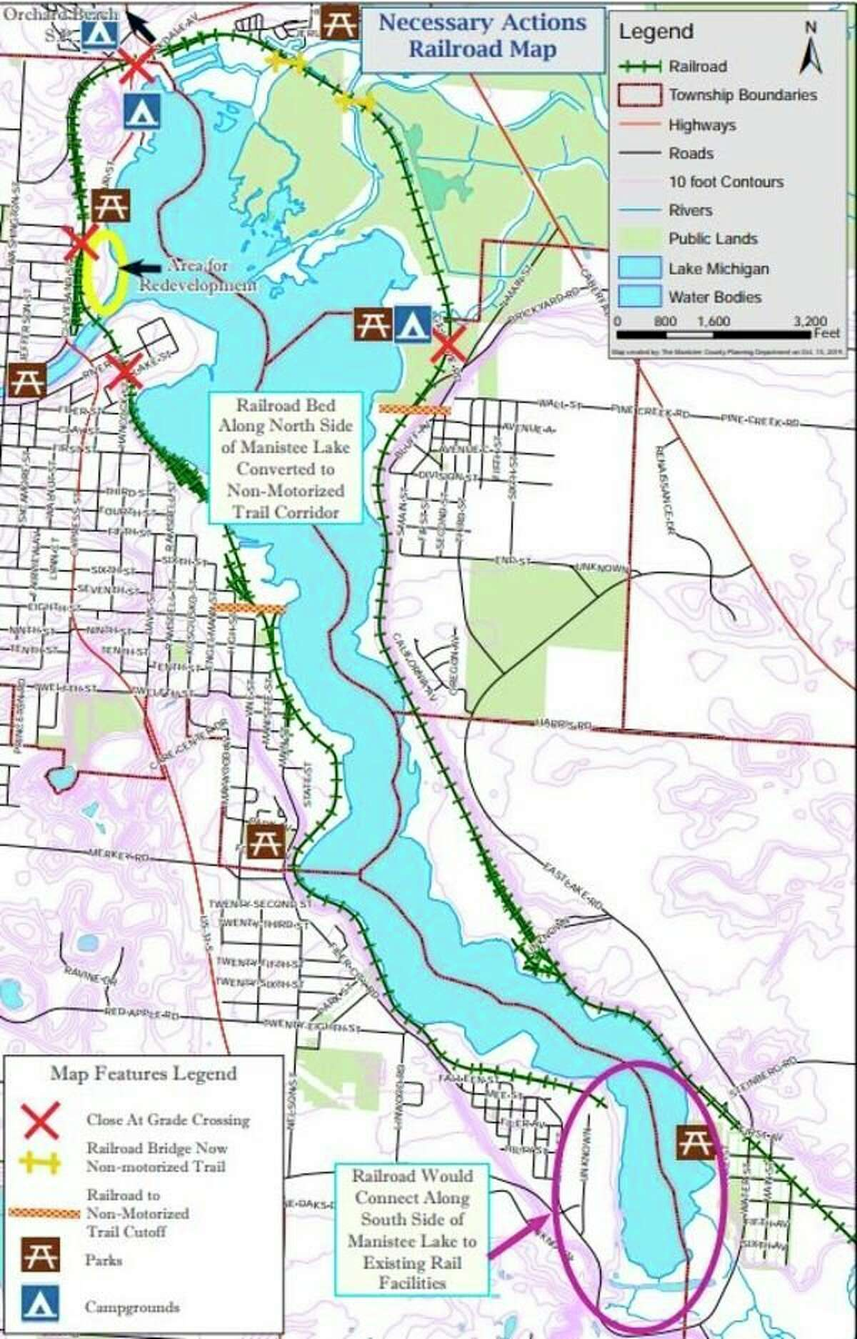 The Manistee County Planning Department recently drafted a railroad relocation plan. This map details the proposed change which is merely in the preliminary stage of discussion. Local officials say the plan needs to gain supportat the state level. (Courtesy Photo)