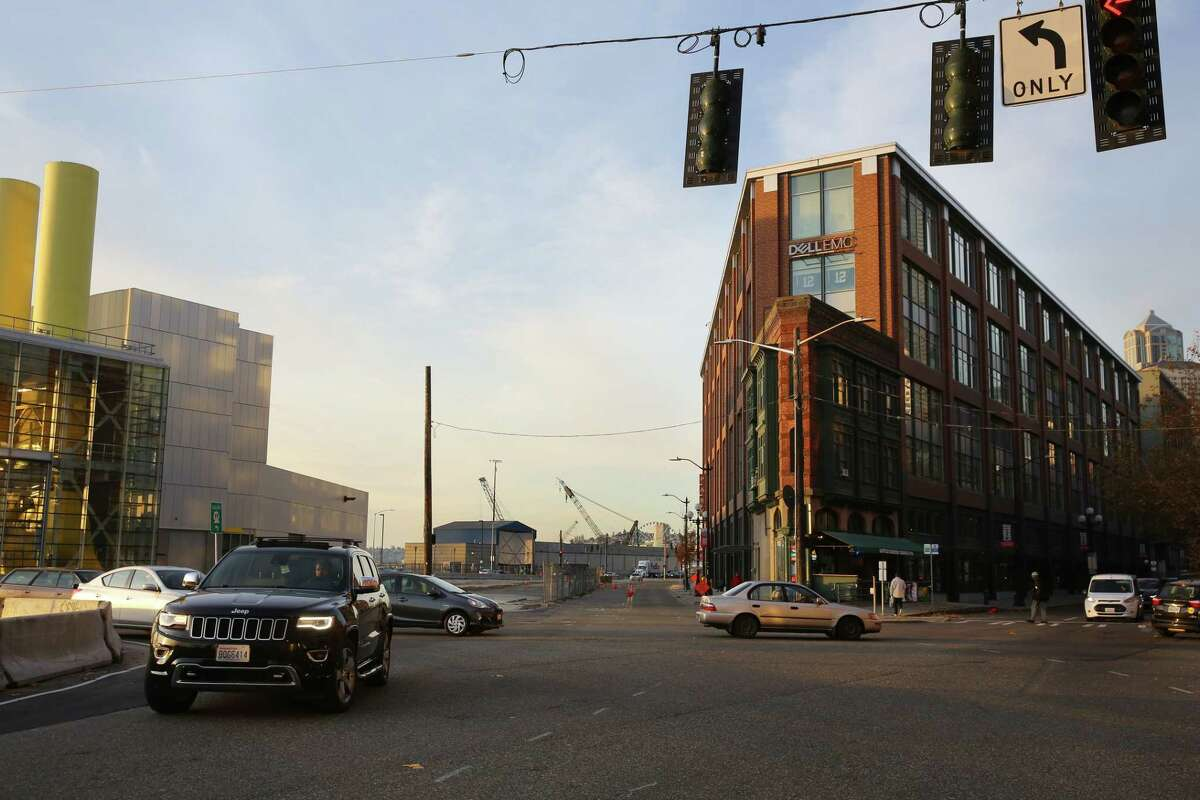 The viaduct was demolished this year, but the Flatiron building still stands at Alaskan Way and First Avenue. Photographed Nov. 7, 2019.