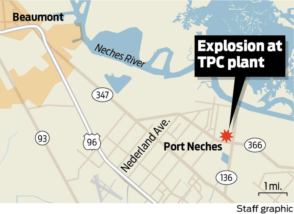 Location of Port Neches plant explosion on Wednesday, Nov. 27, 2019.