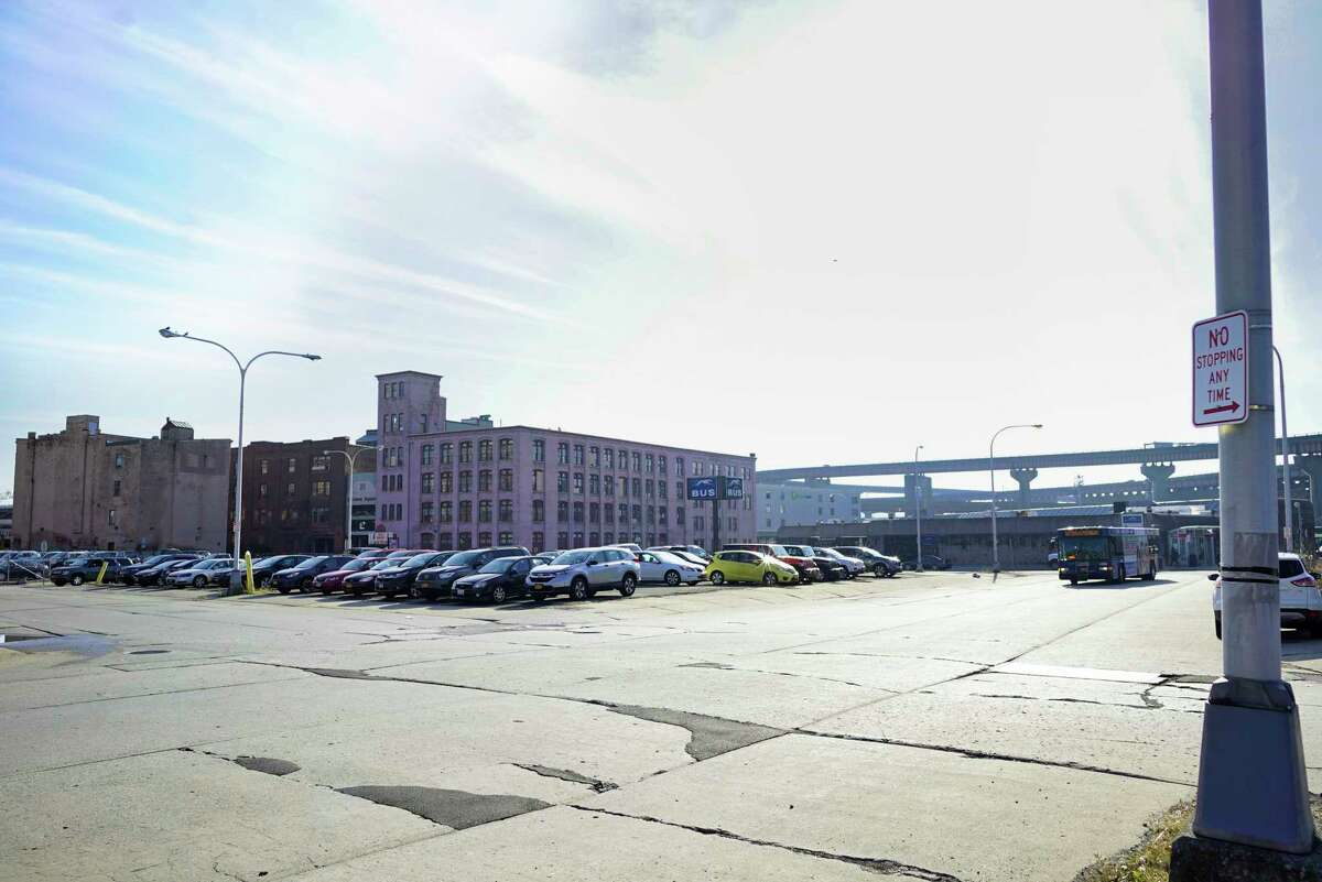 A view of the area around the bus station seen from Dallius Street on Tuesday, Nov. 26, 2019, in Albany, N.Y. (Paul Buckowski/Times Union)