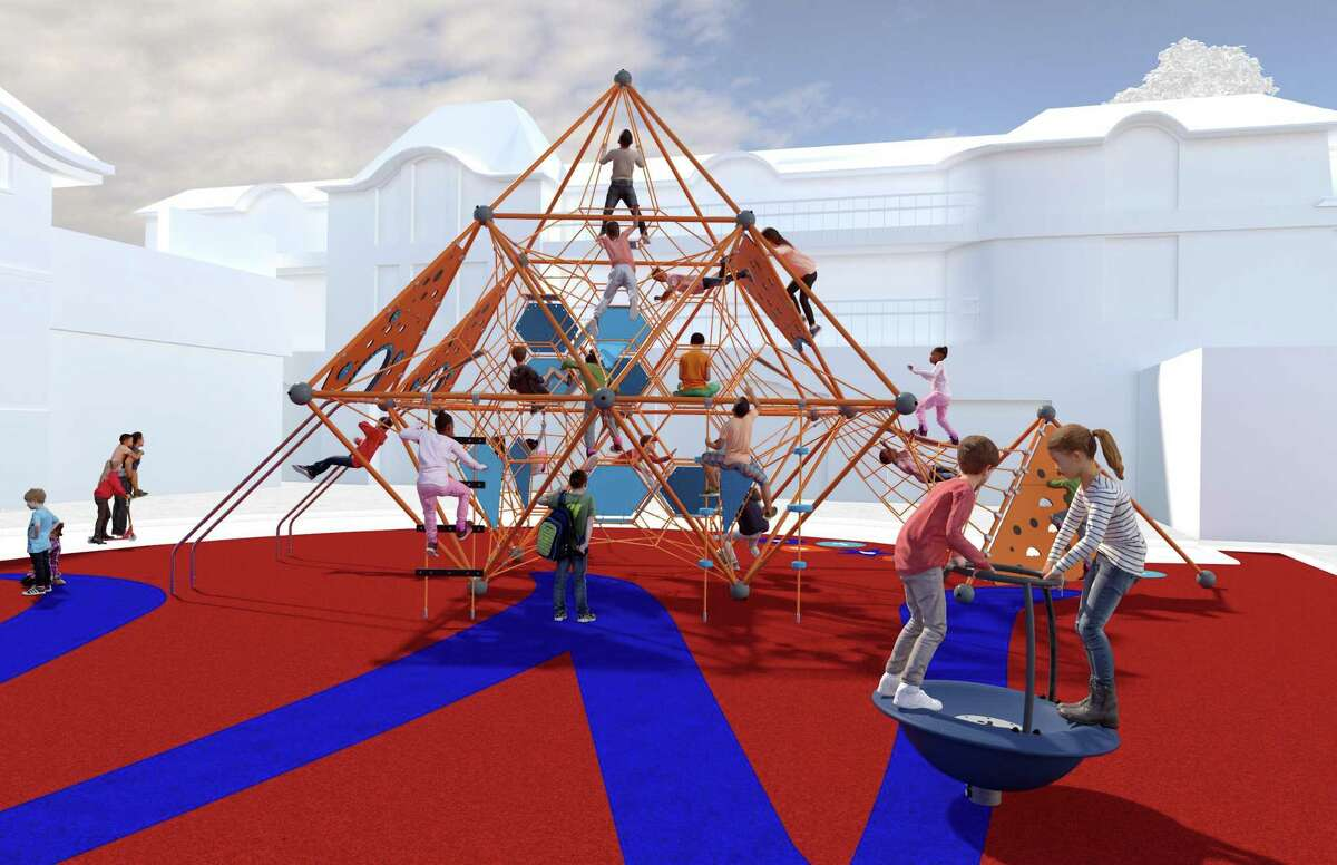 Renderings of the new downtown playground proposed for Bedford Square The playground will be ADA compliant and allow toddlers and older to play alongside their families. Photos by playground builder Kompan.
