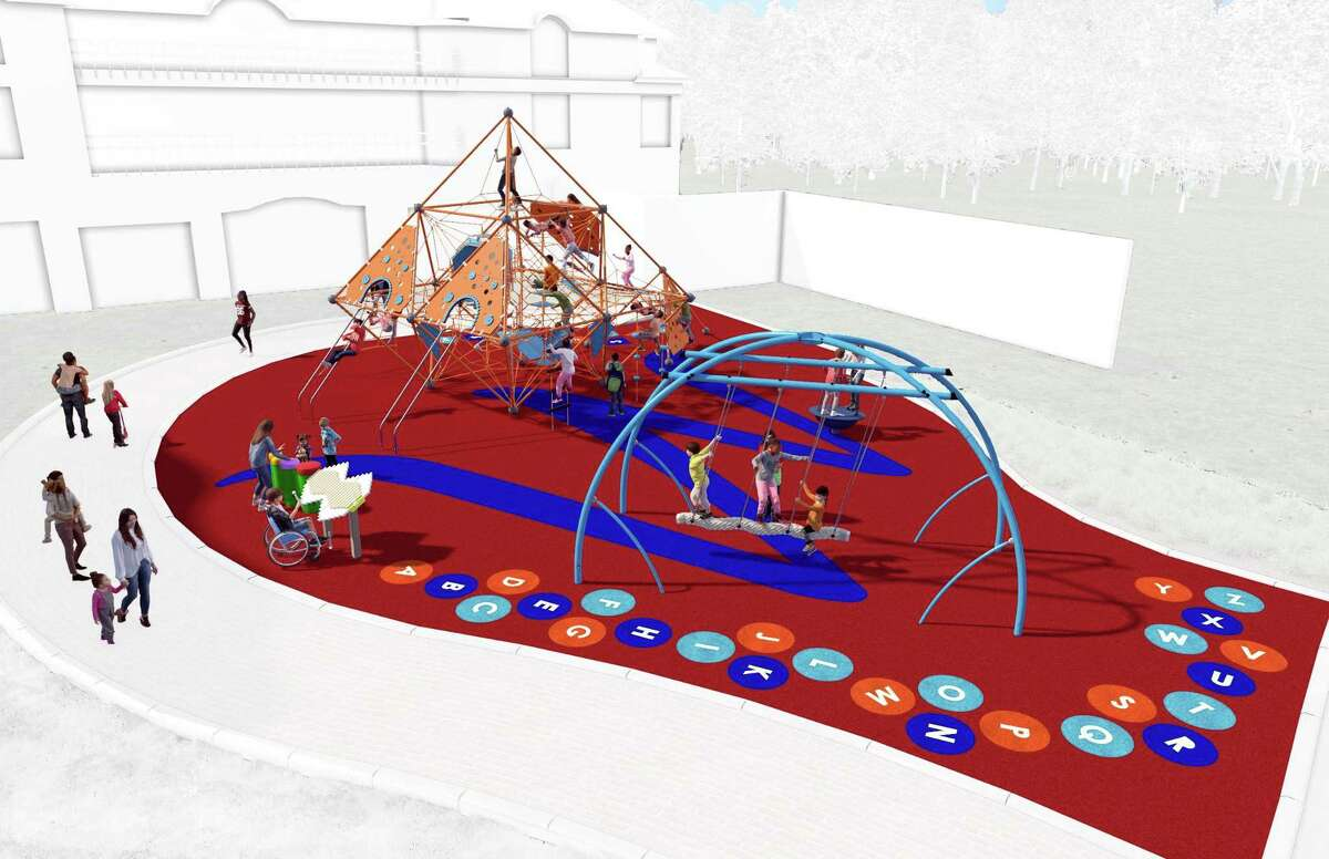 Renderings of the new downtown playground proposed for Bedford Square.The playground is tentatively scheduled to be completed by the summer of 2020. Photos by playground builder Kompan.