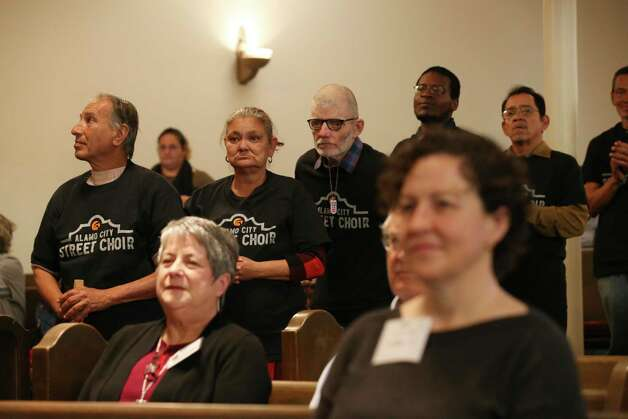 Members of the Alamo City Street Choir line up to perform during Sunday Service at Travis Park Methodist Church, Nov. 24, 2019. The choir is made up of homeless people. Photo: Jerry Lara, San Antonio Express-News / Staff Photographer / **MANDATORY CREDIT FOR PHOTOG AND SAN ANTONIO EXPRESS-NEWS/NO SALES/MAGS OUT/TV   © 2019 San Antonio Express-News