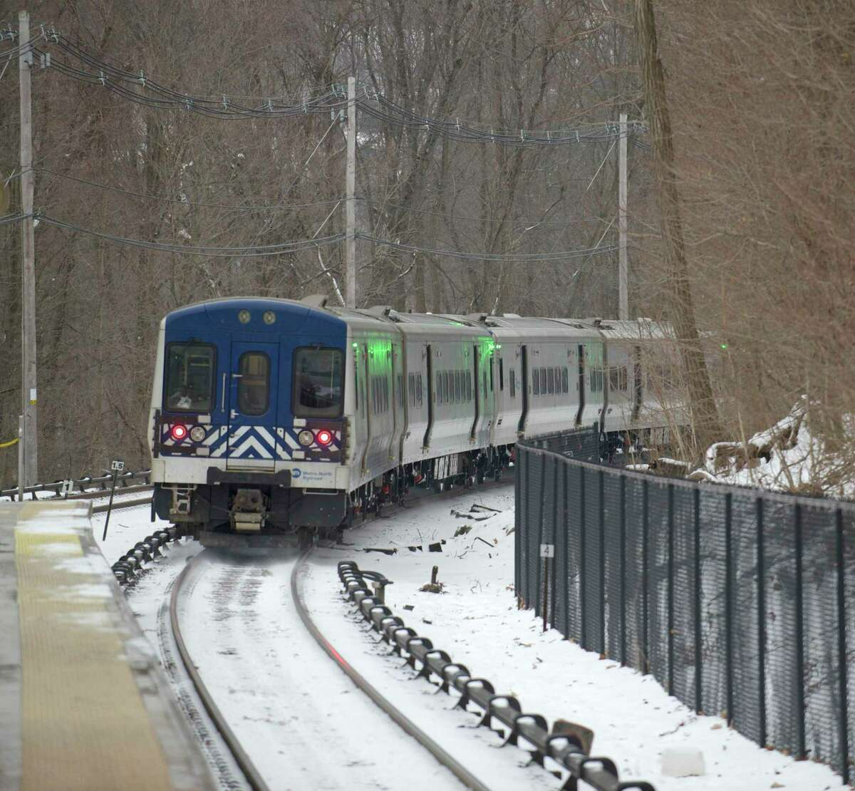 A train leaves the Brewster, NY, station on the Metro-North Harlem Line going to New York City on Monday, January 27, 2014.
