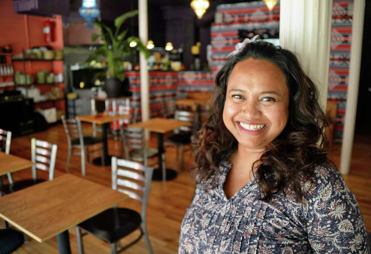 Entrepreneur Aneesa Waheed in her Tara Kitchen restaurant Wednesday July 19, 2017 in Troy, NY. (John Carl D'Annibale / Times Union)