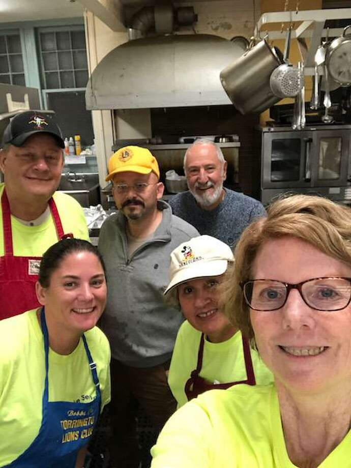 Members of the Torrington Lions Club are volunteering at the Community Soup Kitchen as a new service project. PIctured are Lions Bobbi Jo Klug, Martha Diamond and Denise Calkins; in the back, Robert Diamond, Paul Rabeuf and Norm Nejaime. Photo: Phil Dzurnak / Contributed Photo /