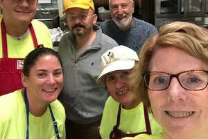 Members of the Torrington Lions Club are volunteering at the Community Soup Kitchen as a new service project. PIctured are Lions Bobbi Jo Klug, Martha Diamond and Denise Calkins; in the back, Robert Diamond, Paul Rabeuf and Norm Nejaime.
