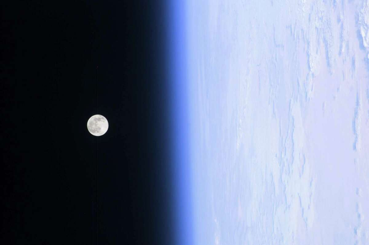A photograph of the Moon taken by NASA astronaut Leroy Chiao from the International Space Station in 2004.
