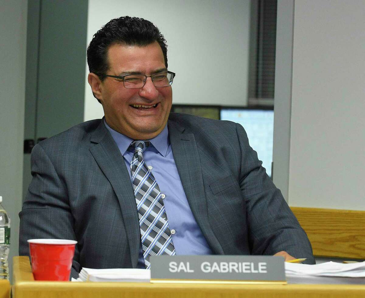 Republican Sal Gabriele reacts as he and fellow Board of Finance member Dudley Williams are recognized during a monthly BOF's public meeting at the Government Center on Nov. 14, 2019 in Stamford, Connecticut. Gabriele is leaving the Board of Finance in the middle of his term because of work commitments. Gabriele, who has been an elected official for 12 years, started on the Board of Representatives, where he made headlines for calling out nepotism, the scrap metal scandal, and lack of government transparency.