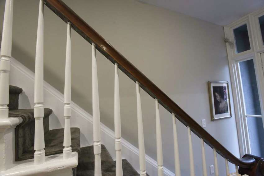 A view of the original spindles and railing inside the home of Mayor Kathy Sheehan and her husband in the Ten Broeck Triangle neighborhood on Wednesday, Nov. 20, 2019, in Albany, N.Y. (Paul Buckowski/Times Union)