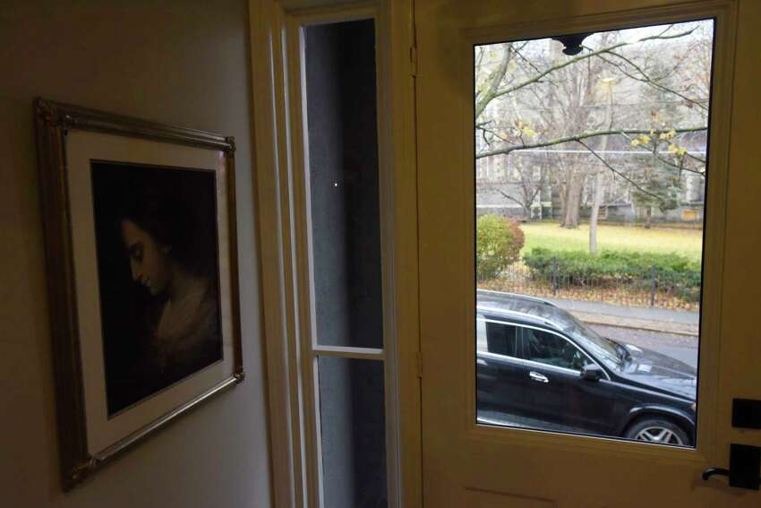 A view looking out the front door from inside the home of Mayor Kathy Sheehan and her husband in the Ten Broeck Triangle neighborhood on Wednesday, Nov. 20, 2019, in Albany, N.Y. (Paul Buckowski/Times Union)