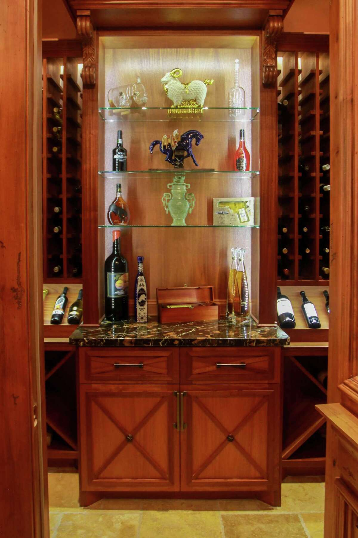 The wine cellar and tequila tasting room at 11010 N Country Squire Street in Piney Point Village in Houston. The house was recently on the market for $7 million.