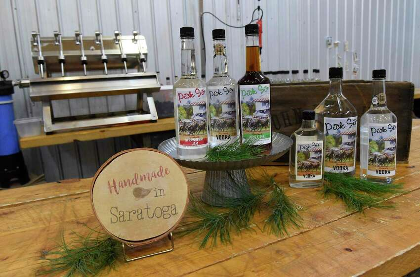 Bottles of Pick Six Vodka including a couple of flavored varieties are seen in Courage Distillery on Thursday, Nov. 21, 2019 in Greenfield Center, N.Y. (Lori Van Buren/Times Union)