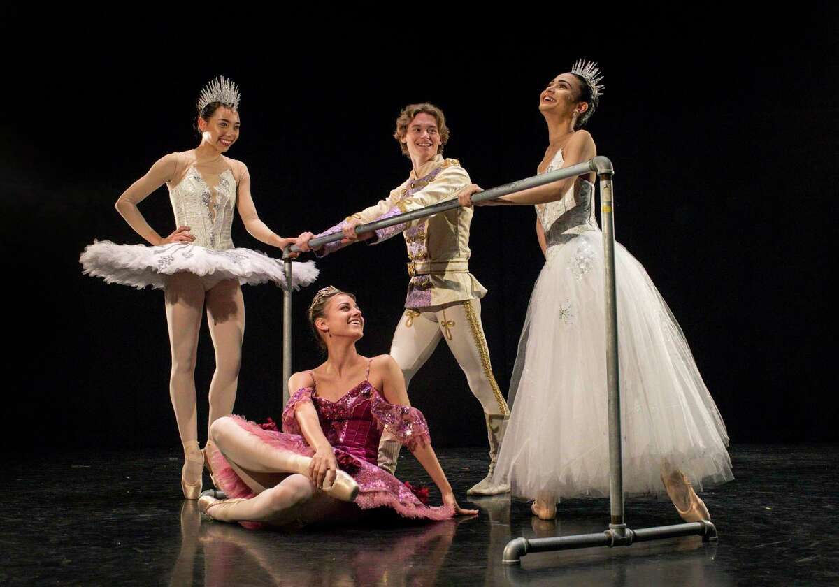 McKhayla Pettingill, from left, Tyler Donatelli, Chandler Dalton and Gretel Batista share a light moment during a portrait session at the Houston Ballet Center for Dance on Thursday, Nov. 21, 2019, in Houston. The four dancers will have prominent roles in Houston Ballet's