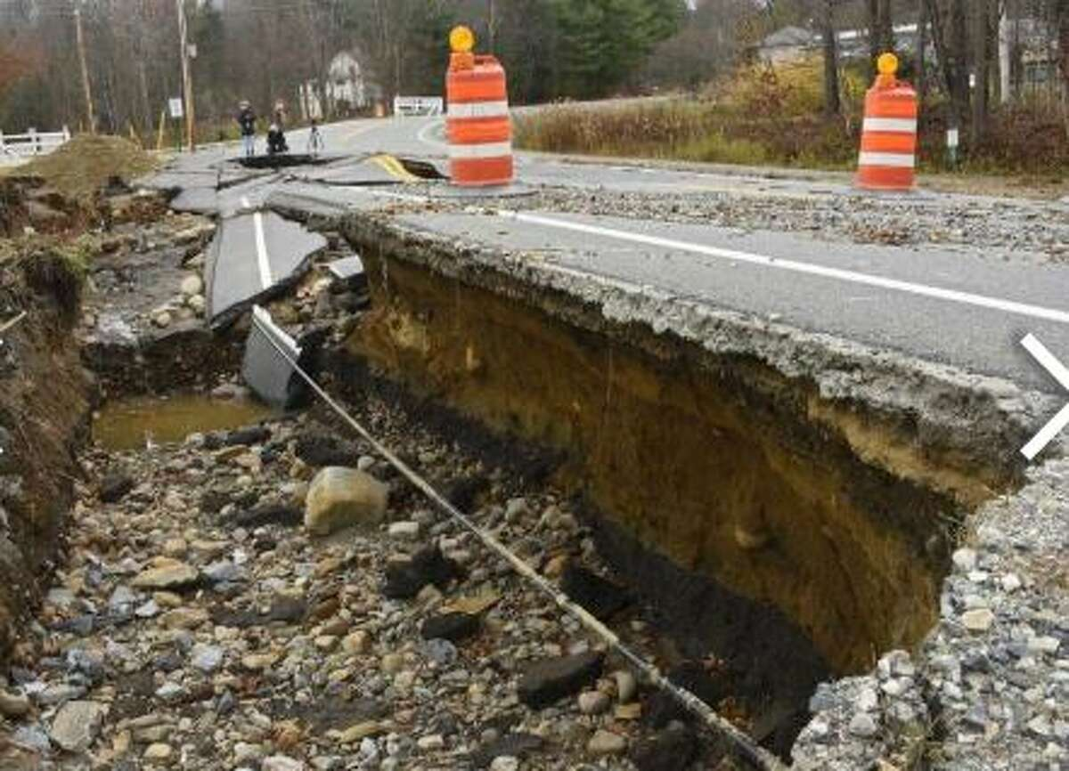 Part of Lake Desolation Road near Kilmer Rd is closed due to part of the road being washed out on Friday, Nov. 1, 2019 in Middle Grove, N.Y.