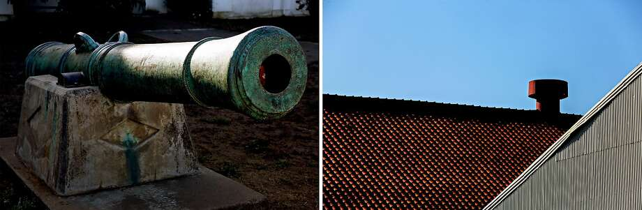 Left: A cannon outside Stilwell Hall is one of the few physical remnants of when the Presidio was part of the Spanish empire. Right: Shuttered industrial buildings along Thornburg Road in the Presidio. Photo: Photos By Santiago Mejia / The Chronicle