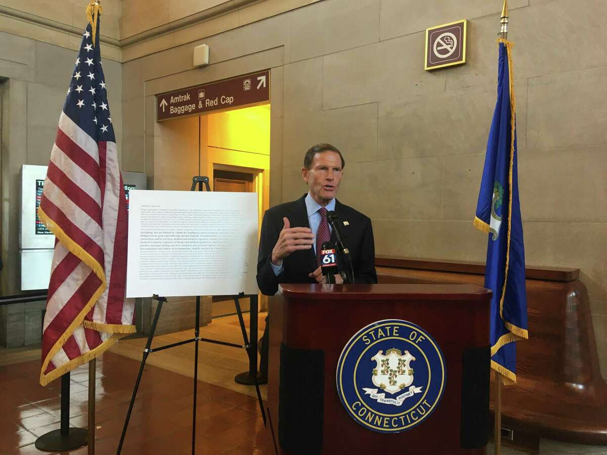 Sen. Richard Blumenthal speaks at Union Station in New Haven about a change to Amtrak's ticket terms and conditions that prevent passengers from bringing lawsuits for personal injury, discrimination and other claims.