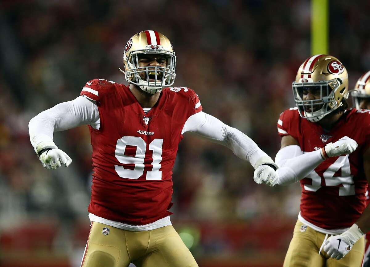 Defensive end Arik Armstead #91 of the San Francisco 49ers reacts after making a stop during the first quarter of the game against the Green Bay Packers at Levi's Stadium on November 24, 2019 in Santa Clara, California. (Photo by Ezra Shaw/Getty Images)