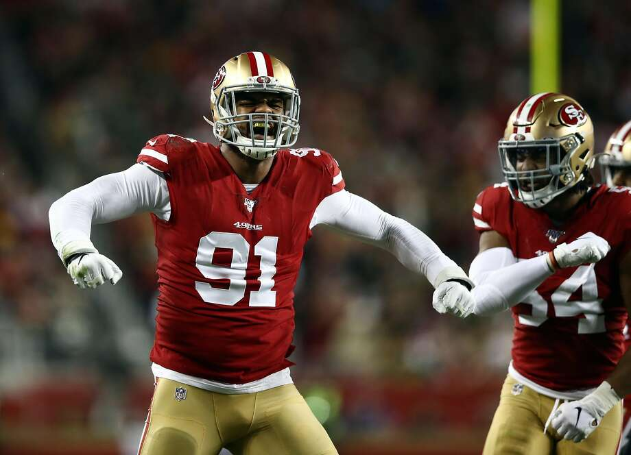 Defensive end Arik Armstead #91 of the San Francisco 49ers reacts after making a stop during the first quarter of the game against the Green Bay Packers at Levi's Stadium on November 24, 2019 in Santa Clara, California. (Photo by Ezra Shaw/Getty Images) Photo: Ezra Shaw / Getty Images