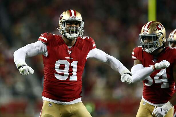 SANTA CLARA, CALIFORNIA - NOVEMBER 24: Defensive end Arik Armstead #91 of the San Francisco 49ers reacts after making a stop during the first quarter of the game against the Green Bay Packers at Levi's Stadium on November 24, 2019 in Santa Clara, California. (Photo by Ezra Shaw/Getty Images)