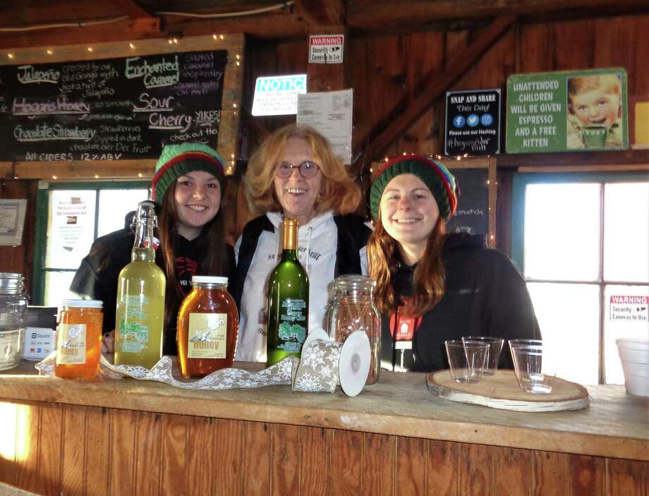 From left, bartender Alexandra Ujvari of Barkhamsted, co-owner Theresa Clifford Dunlop and sales assistant Gina Folino of New Hartford n the Tap Room on the second floor of Hogan's Cider Mill in Harwinton. Photo: Jo Ann Jaacks / For Hearst Connecticut Media
