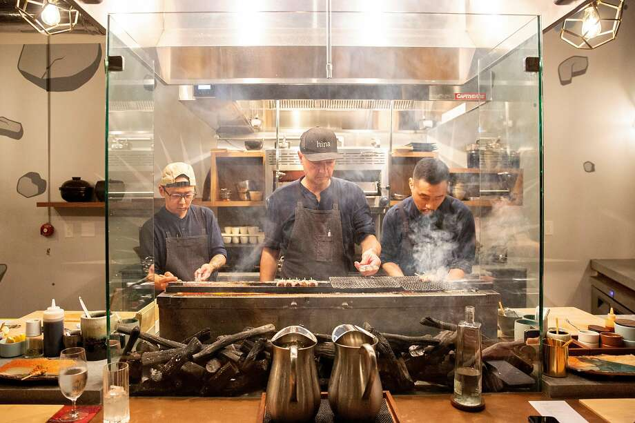 Chefs Rich Lee (from left), Tommy Cleary and Brian Shin at Hina Yakitori in S.F. Photo: Santiago Mejia / The Chronicle