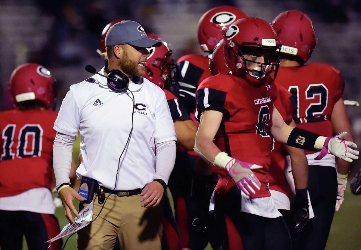 Cheshire coach Don Drust on the sidelines during an October game against Masuk.