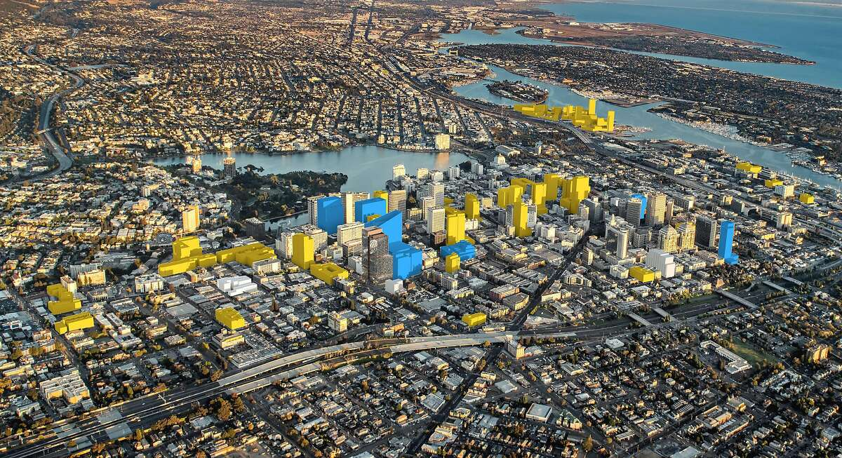 An artist's rendering of new planned Oakland towers, with office projects in blue and housing projects in yellow.