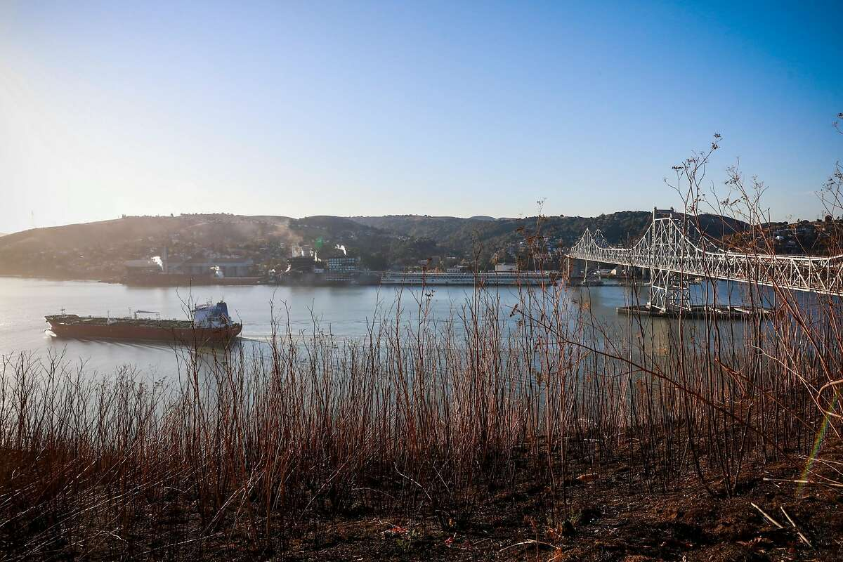 The Champion Istra boat moments after passing under the Carquinez Bridge on Monday, November 25, 2019 in Vallejo, California.