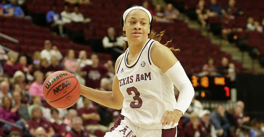 Texas A&M guard Chennedy Carter (3) charges the paint against Duke during an NCAA women's basketball game on Sunday, Nov. 10, 2019, in College Station, Texas. (AP Photo/Sam Craft) Photo: Sam Craft/Associated Press / Copyright 2019 The Associated Press. All rights reserved.