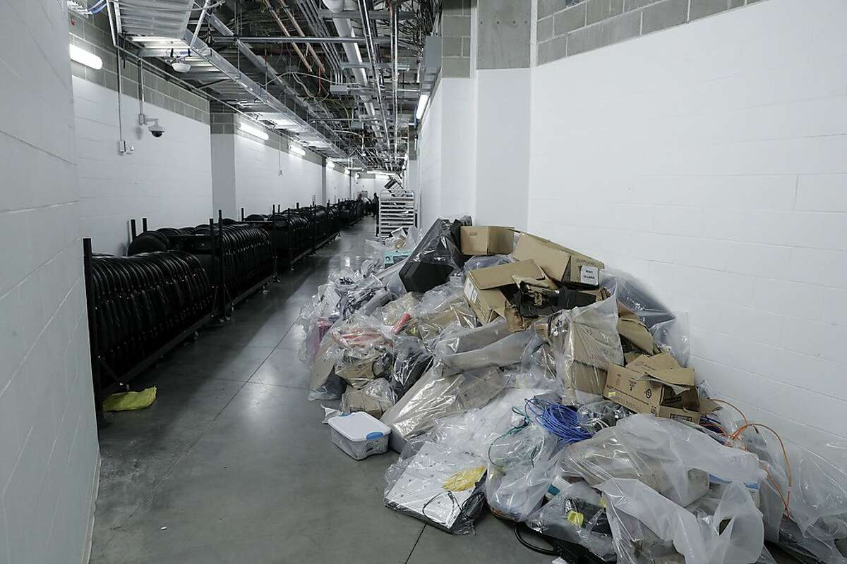 Water-damaged electronics and telecomm equipment at Chase Center in San Francisco, Calif., on Wednesday, November 27, 2019.
