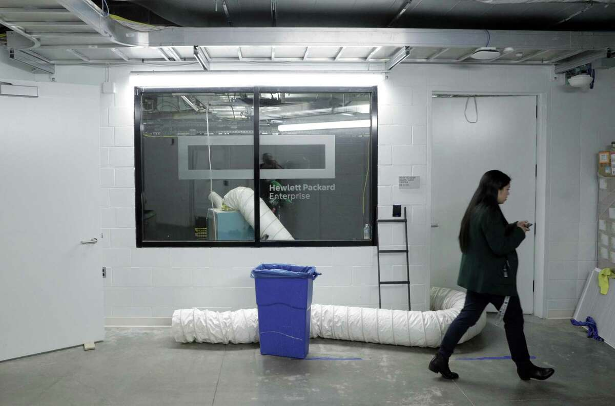 A server room has air blown into it to dry off electronics and networking equipment at Chase Center in San Francisco, Calif., on Wednesday, November 27, 2019.