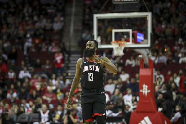 Houston Rockets guard James Harden (13) reacts during the first quarter of an NBA basketball game at the Toyota Center on Wednesday, Nov. 27, 2019, in Houston.