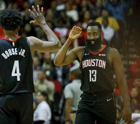 Guard James Harden (13) had 34 points and forward Danuel House Jr. scored a career-high 23 to help the Rockets beat the Heat on Wednesday night.